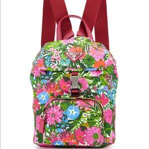 Prada nylon small floral print backpack